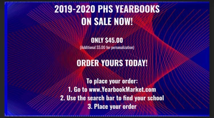 Visit www.yearbookmarket.com and search for Portsmouth City Schools to place your order for 2019-2020 PHS Yearbooks!